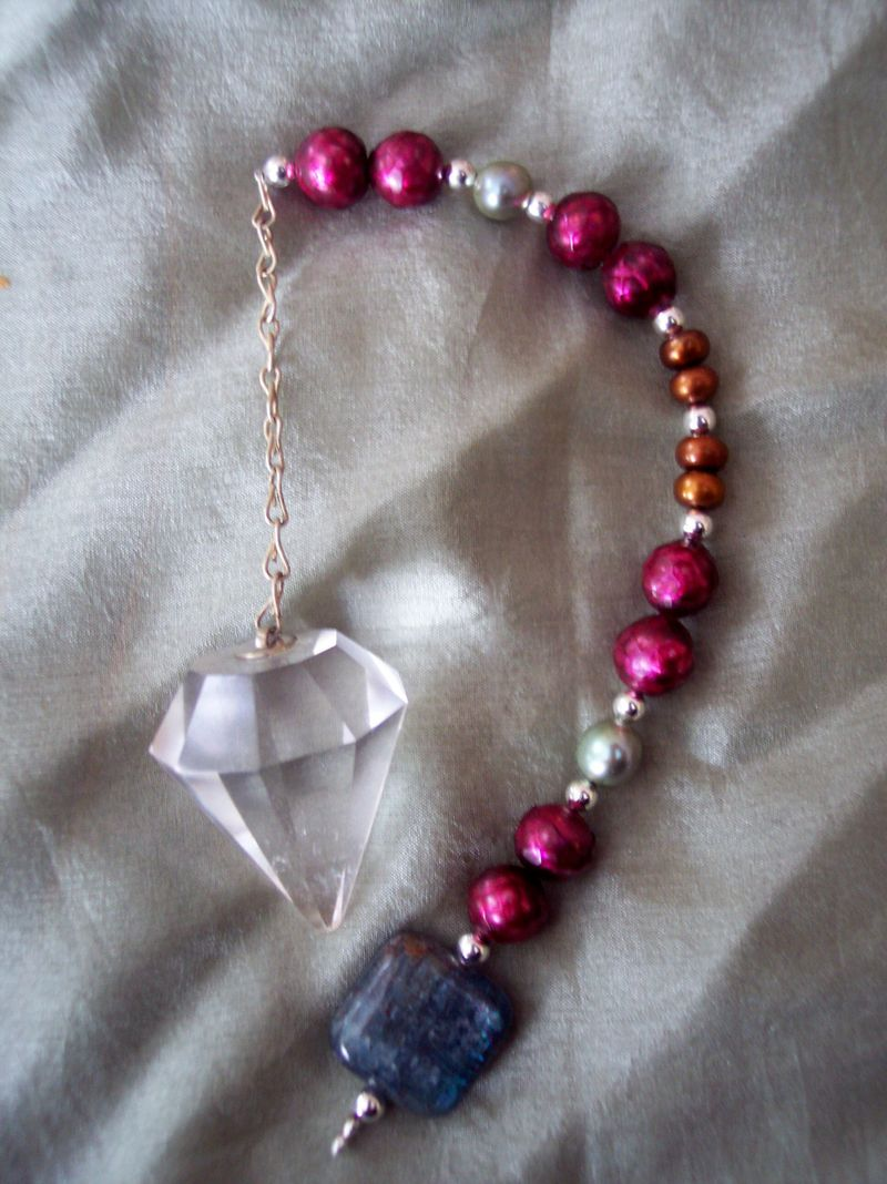 Handmade Holiday Gifts-Kyanite, Pearl and Quartz Pendulum For Moml