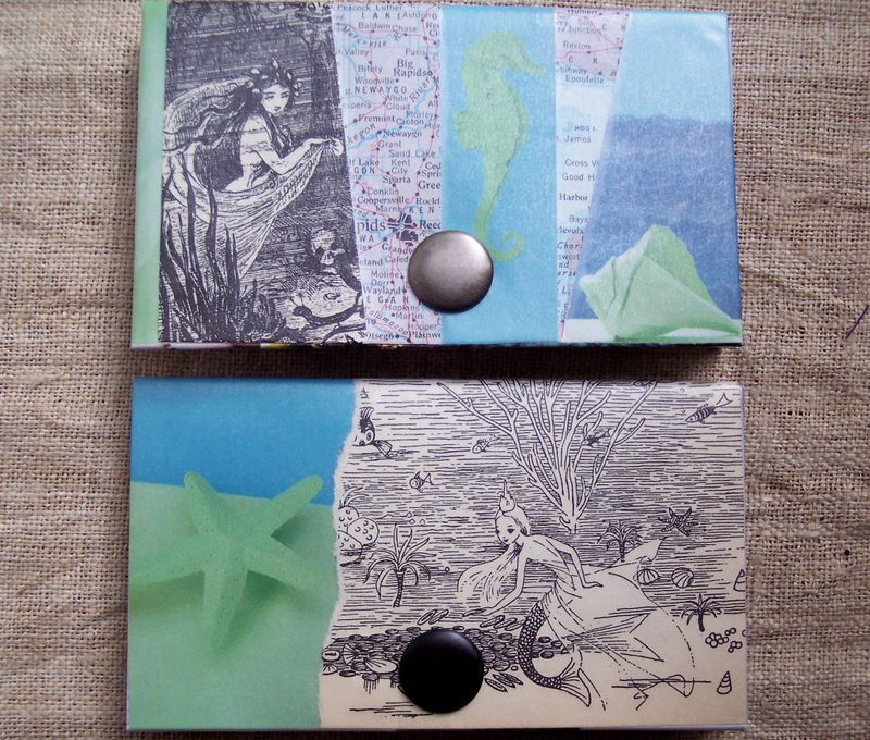 Mermaids-vintage bookplates cardholders