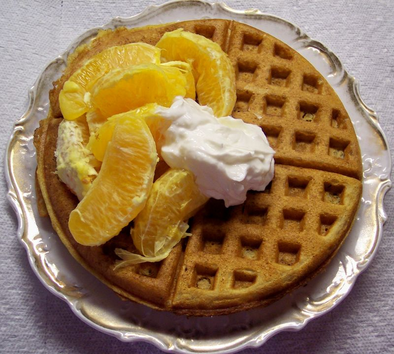 Waffle With Oranges and Greek Yogurt