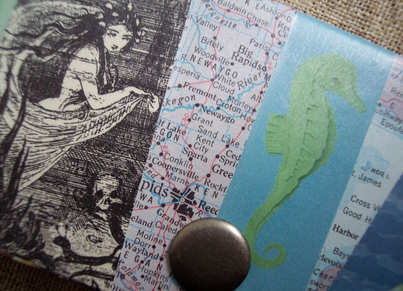 Mermaid and seahorse cardholder detail