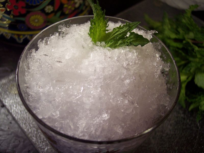 Shaved ice and mint