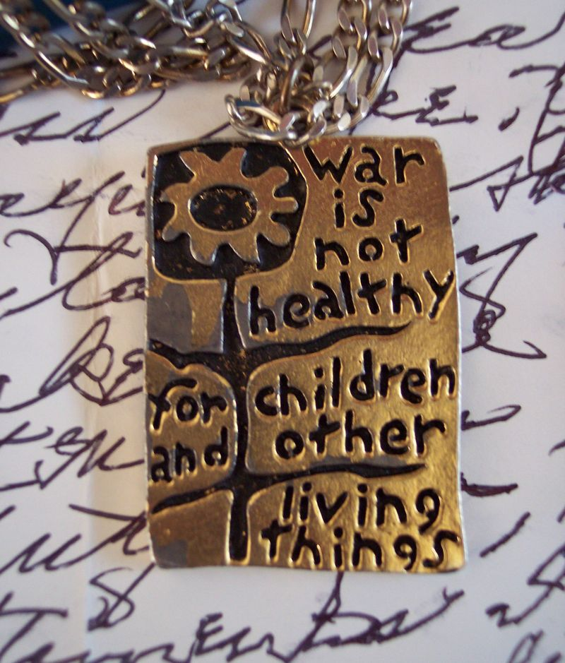 Vintage pendant war is not healthy for children and other living things