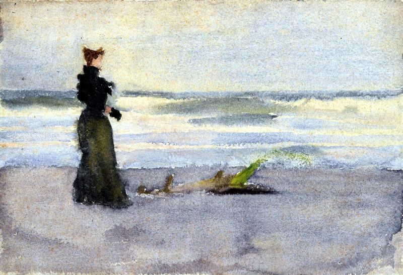 Portrait-Water-color-Edwardian-Woman-at-beach